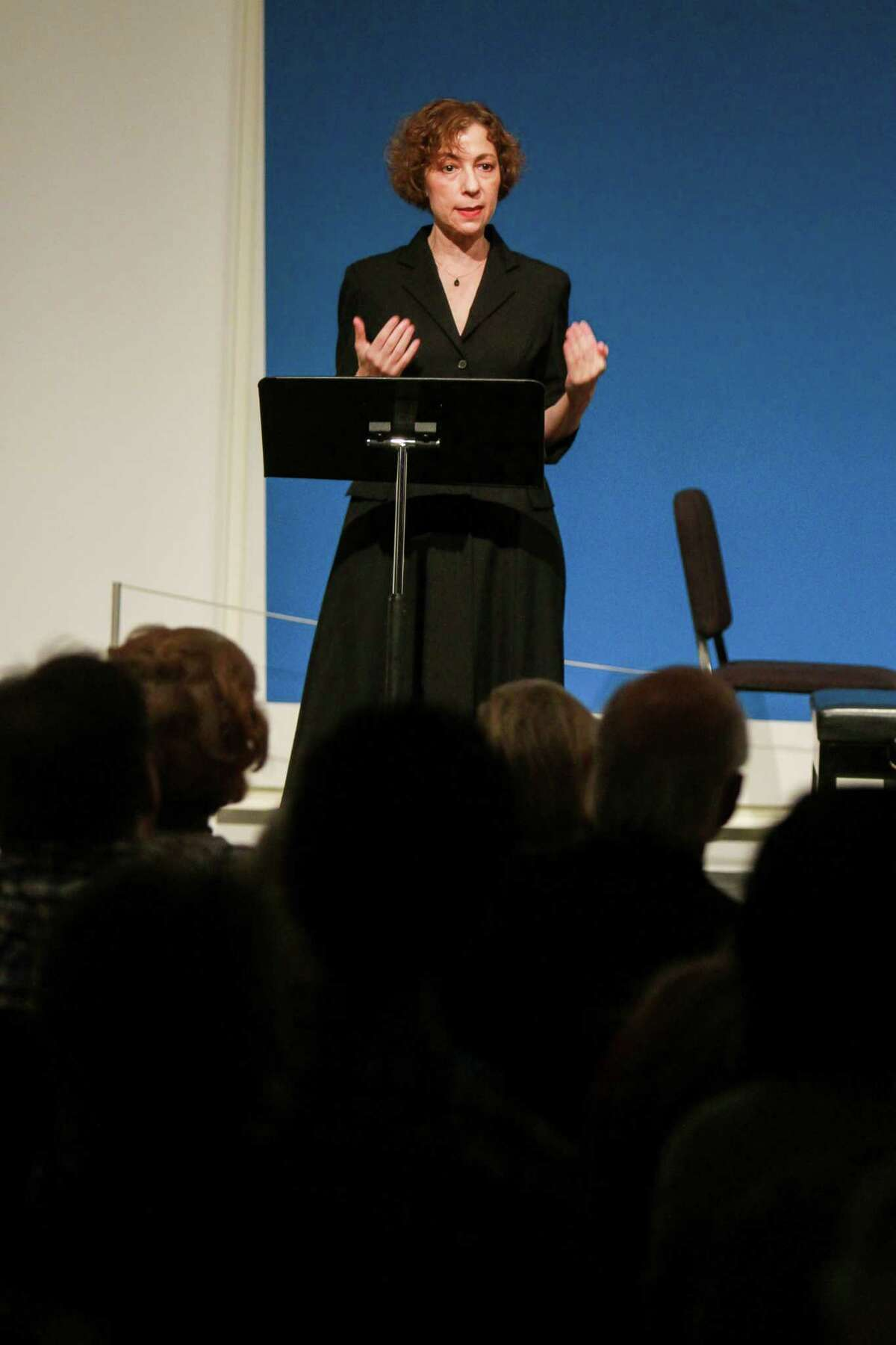 Sarah Rothenberg speaks to the audience before she and baritone Tyler Duncan perform