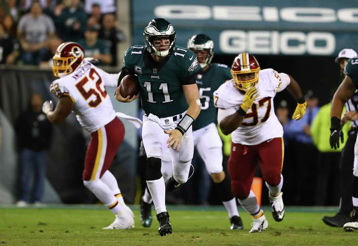 JOHN McCLAIN'S WEEKLY POWER RANKINGS: WEEK 8  1. Philadelphia 6-1 Last week: 2 The victory over Washington on Monday night allowed them to sweep the series. Carson Wentz leads the NFL with 17 touchdown passes.