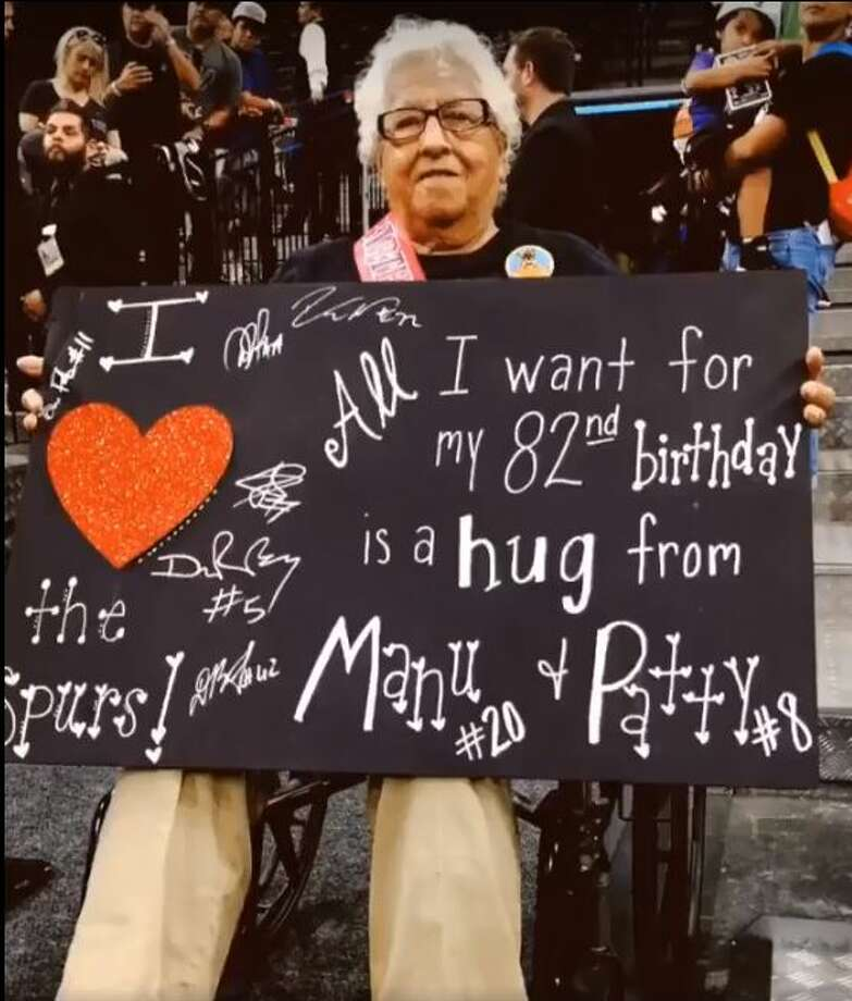 It was Manu Ginobili and Patty Mills who were the stars of the show for this birthday girl at a Spurs game against the Toronto Raptors. 82-year-old fan wanted hugs from Spurs for her birthday, so they obliged. Photo: San Antonio Spurs