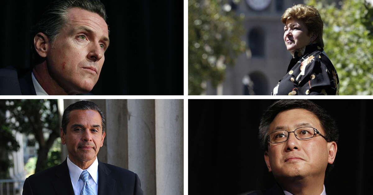 The four leading Democratic candidates for Governor of California:Gavin Newsom (top, left), Antonio Villaraigosa (bottom, left), Delaine Eastin (top, right) andJohn Chiang.