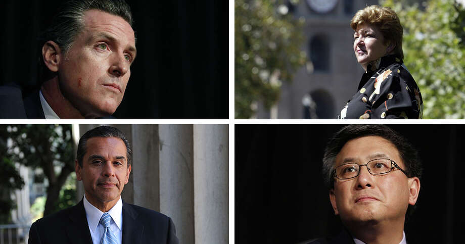 The four leading Democratic candidates for Governor of California: Gavin Newsom (top, left), Antonio Villaraigosa (bottom, left), Delaine Eastin (top, right) and John Chiang.
