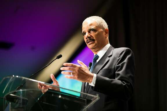 Eric Holder in San Francisco in July 2017