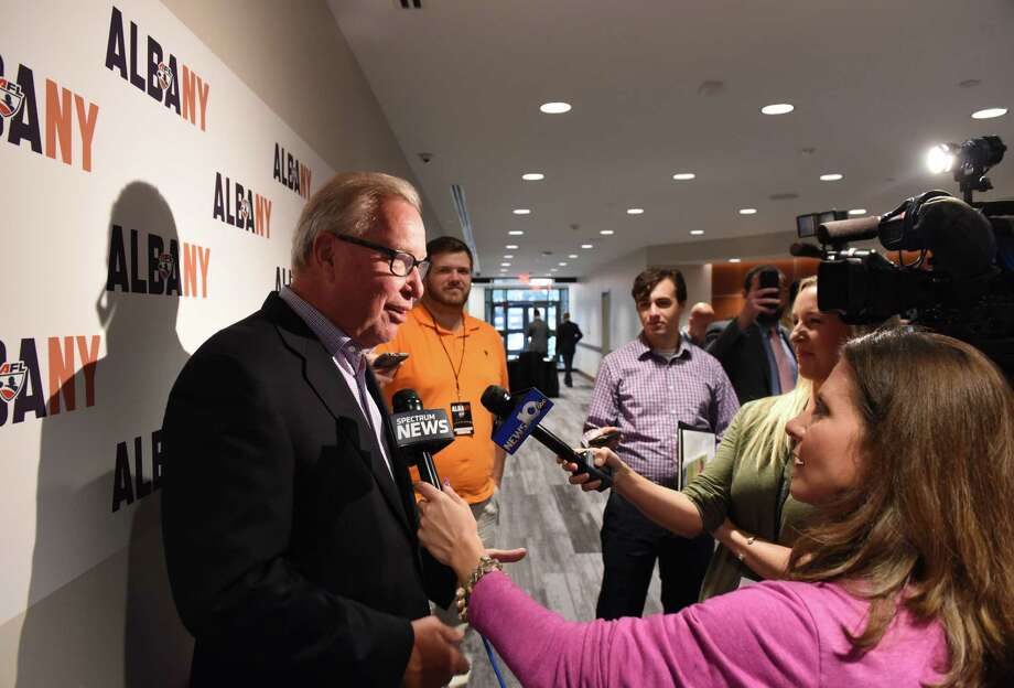 Ron Jaworski, former NFL quarterback and part of the Arena Football League Philadelphia Soul's ownership group, speaks following a press conference to announce a new Albany Arena Football League team on Tuesday, Oct. 24, 2017, at the Hearst Media Center in Colonie, N.Y. The team's local owners are: George Hearst III, publisher and CEO of the Times Union; Dan Nolan, president and CEO of Hugh Johnson Advisors; and businessman Ed Swyer. The Philadelphia Soul's ownership group is joining local owners to run the team. (Will Waldron/Times Union) Photo: Will Waldron, Albany Times Union / 20041921A