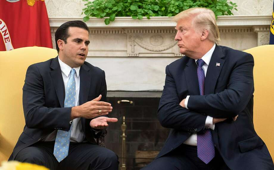 Puerto Rico Gov. Ricardo Rossello speaks in the Oval Office Oct. 19 with President Trump, who praised his own response to the devastation the U.S. territory suffered from Hurricane Maria. Photo: Sipa USA, TNS