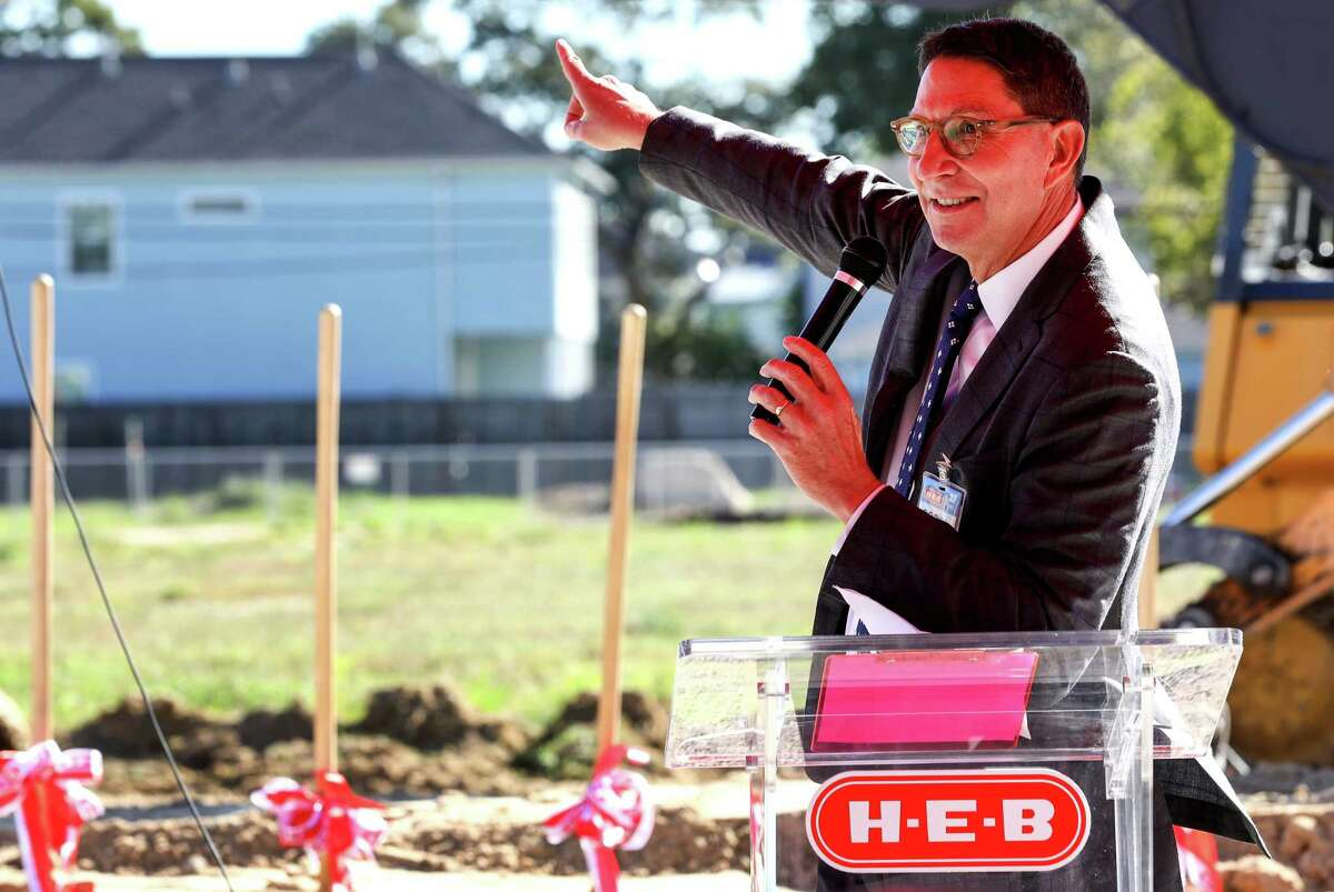 Scott McClelland, HEB president of food and drug, speaks during a groundbreaking ceremony for a new HEB location in the Heights neighborhood, Tuesday, Oct. 24, 2017, in Houston. Last November, Heights residents voted to repeal an alcohol ban, making it possible for HEB to build the store. ( Jon Shapley )