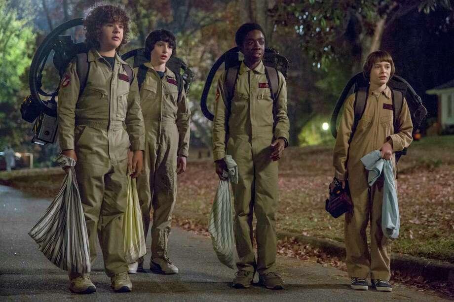 "Gaten Matarazzo, Finn Wolfhard, Caleb Mclaughlin and Noah Schnapp in Netflix's ""Stranger Things."" Photo: Jackson Lee Davis, Netflix / Netflix"