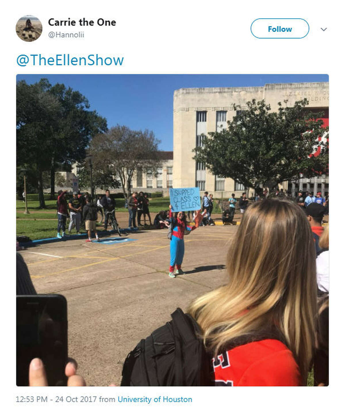 Students and fans have been gathering in front of the E. Cullen building at the University of Houston in anticipation after Ellen DeGeneres tweeted she'd be giving away World Series tickets at the campus. Photo: Twitter