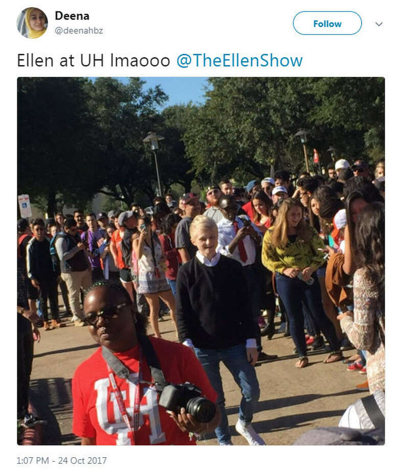 Students and fans have been gathering in front of the E. Cullen building at the University of Houston in anticipation after Ellen DeGeneres tweeted she'd be giving away World Series tickets at the campus.Photo: Twitter Photo: Twitter