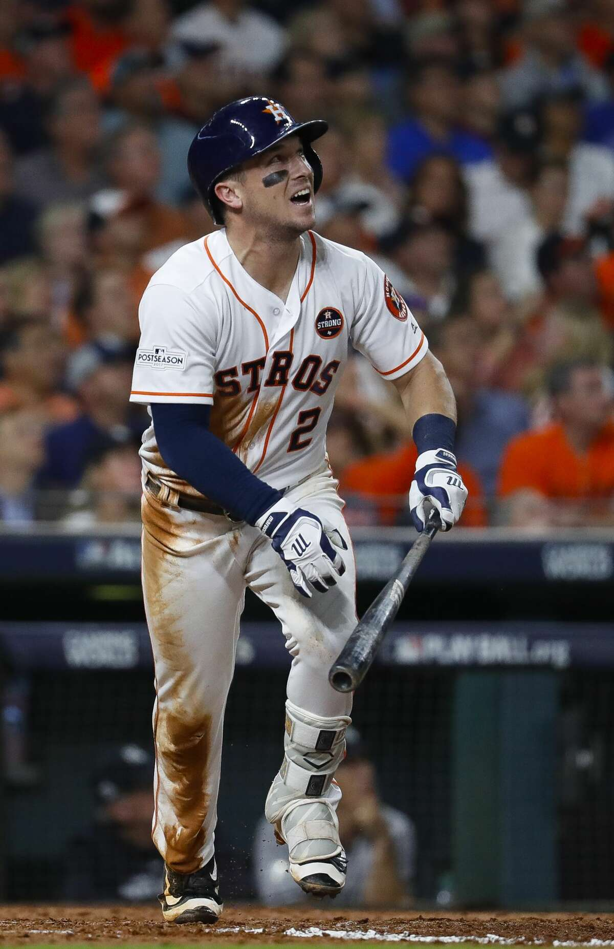 Houston Astros third baseman Alex Bregman (2) flies out in the sixth inning of Game 6 of the ALDS at Minute Maid Park, Friday, Oct. 20, 2017, in Houston. ( Karen Warren / Houston Chronicle )