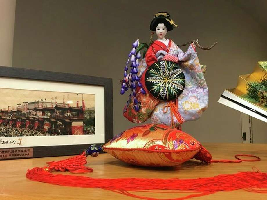 Gifts from Handa, Japan were showcased at thecity commission meeting on Oct. 16 in city chambers. (Kate Carlson kcarlson@mdn.net)