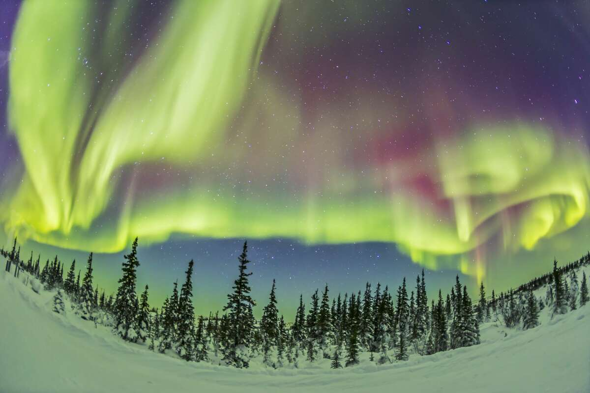The aurora borealis, the Northern Lights, on Feb 21, 2015, from tne Churchill Northern Studies Centre, Churchill, Manitoba, This is looking north with an ultrawide 15mm lens taking in about half the sky from west (left) to east (right) and with the zenith near the top. This is a 15-second exposure at f/2.8 and ISO 3200 with the Canon 6D camera. This frame is part of a 360-frame time lapse taken over 1.5 hours. (Photo by: Alan Dyer /VW PICS/UIG via Getty Images)