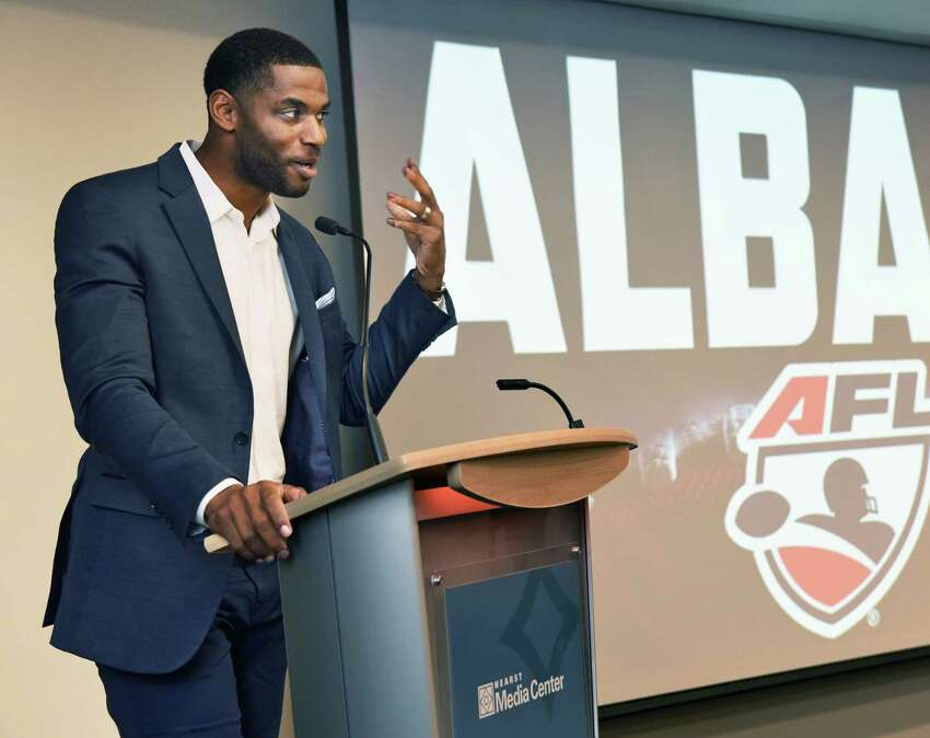 Former New Orleans Saint Marques Colston speaks during the announcement of the return of Arena Football League to Albany during a news conference at the Hearst Media Center Tuesday Oct. 24, 2017 in Colonie, NY. (John Carl D'Annibale / Times Union)