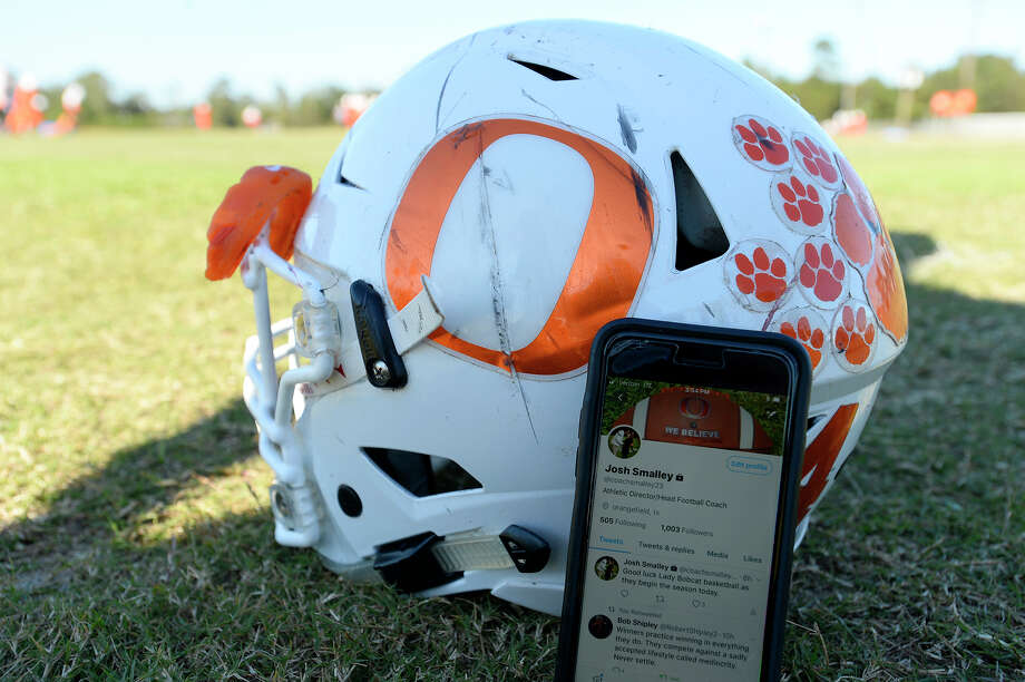 Orangefield's head football coach Josh Smalley uses Twitter to stay connected with his players, who are avid users of social media.  Photo taken Wednesday 10/18/17 Ryan Pelham/The Enterprise Photo: Ryan Pelham / ©2017 The Beaumont Enterprise/Ryan Pelham