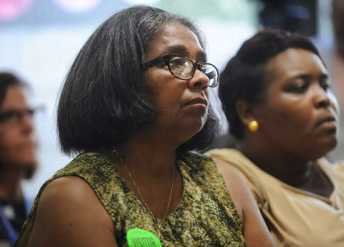 Bridgeport Board of Education member Sauda Baraka attends a press conference to bring attention to the city's education budget woes at Dunbar School in Bridgeport, Conn. on Wednesday, September 27, 2017.