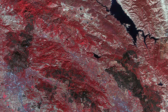 In this NASA image, fire damage from October 2017 wildfires is seen from NASA's Terra Satellite. (NASA)