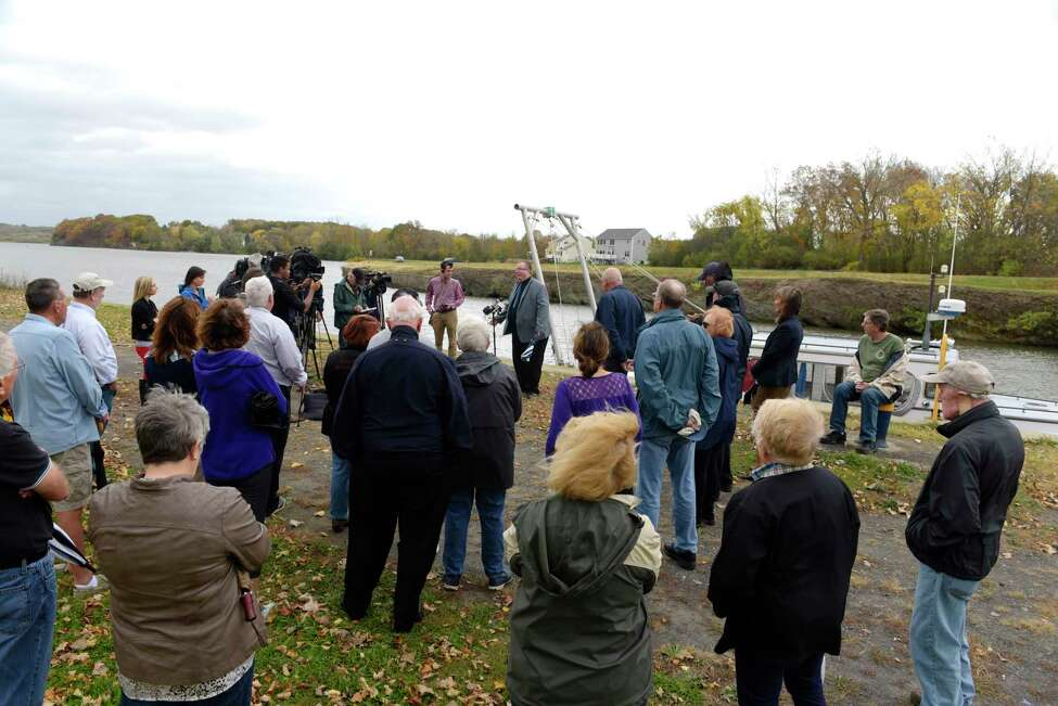 Residents concerned about a possible expansion of the Colonie Landfill attend a press conference near the Erie Canal on Tuesday, Oct. 24, 2017, in Waterford, N.Y. (Paul Buckowski / Times Union)