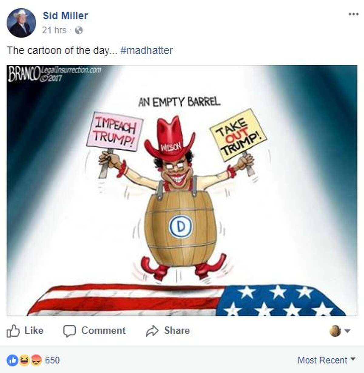 Texas Agriculture Commissioner Sid Miller posted a cartoon on his Facebook page Oct. 23, 2017, depicting Florida Congresswoman Frederica Wilson wearing a barrel and dancing on the grave of a soldier.