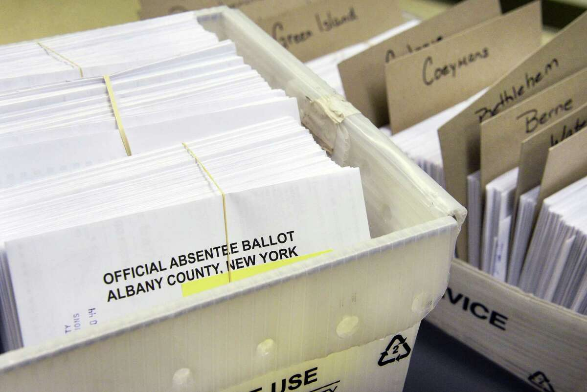 Absentee ballots being processed at Albany County Board of Elections Tuesday Oct. 24, 2017 in Albany, NY. (John Carl D'Annibale / Times Union)