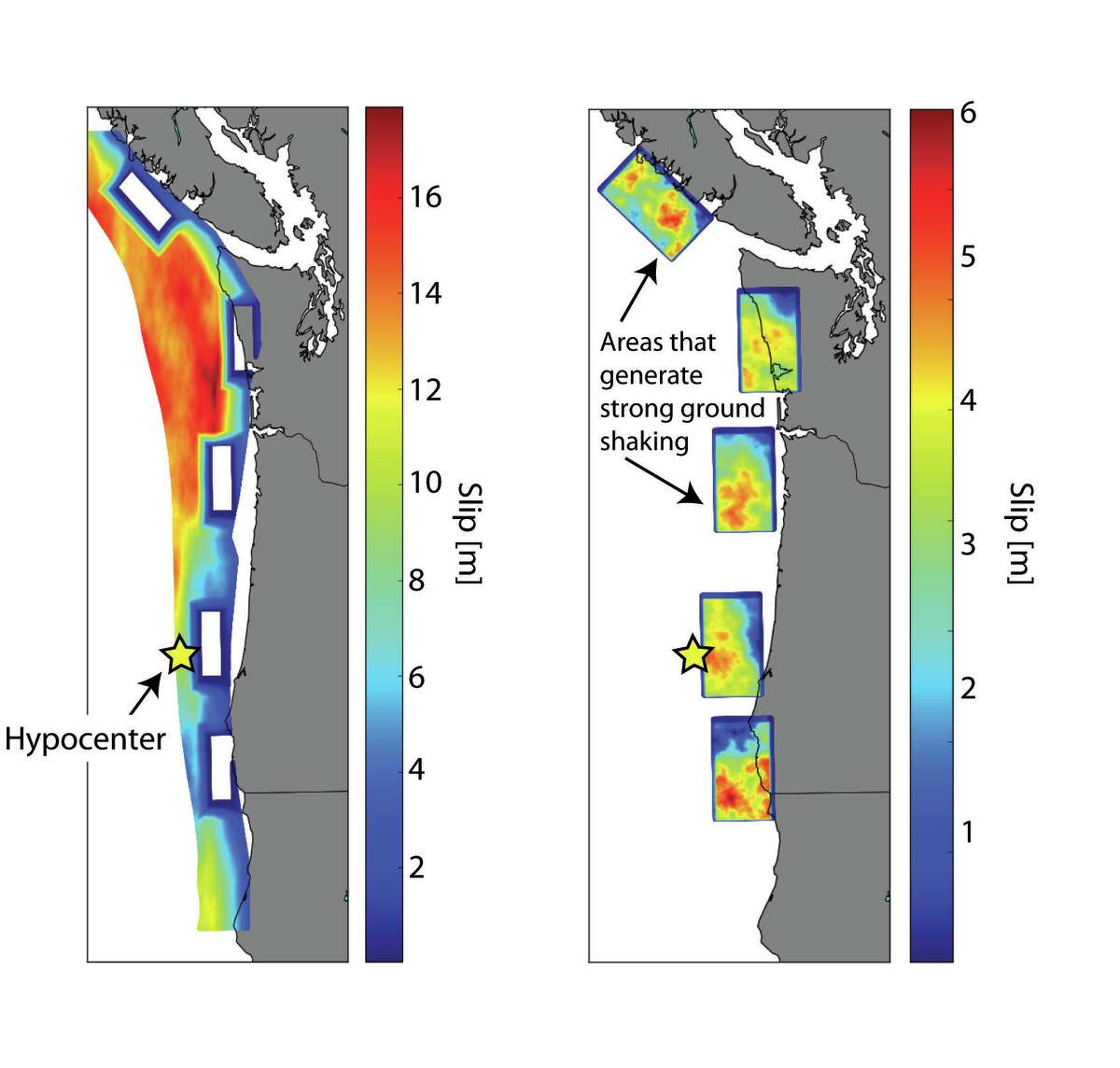 University of Washington researchers ran 50 simulations of a 9.0 Cascadia earthquake to look at all the possible scenarios of how such a quake would hit the region. This image shows one of the worst-case scenarios for Seattle, with the quake centered off the Oregon coast and the shock waves gaining momentum as they moved farther away from the hypocenter.