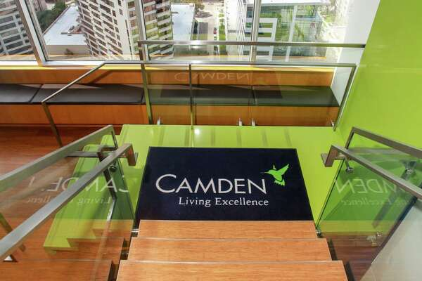 The stairs entering the lobby from the Camden Cafe, at Camden Property Trust headquarters at 11 Greenway Plaza. (For the Chronicle/Gary Fountain, October 9, 2017)