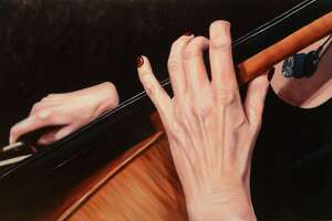 """Sarah Paolucci """"Cello"""" Oil on Board 23"""" x 38"""", 2015, is part of three solo shows opening Thursday at Five Points Gallery in Torrington."""