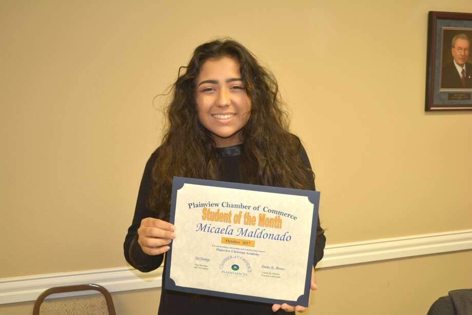 Micaela Maldonado, senior at Plainview Christian High School, is the Plainview Chamber of Commerce October Student of the Month. The 17-year-old daughter of Rey Maldonado, and Ben and Jaclyn Hailey, she volunteers as a teacher's aide for the PCA kindergarten class and for junior high, involved in art class and tennis and serves as Student Council secretary. She is a member of National Honor Society and participates in Junior Literacy Council and St. Benedict's Feeding the Homeless program. Her hobbies include drawing and photography and she plans to attend Texas Tech University.