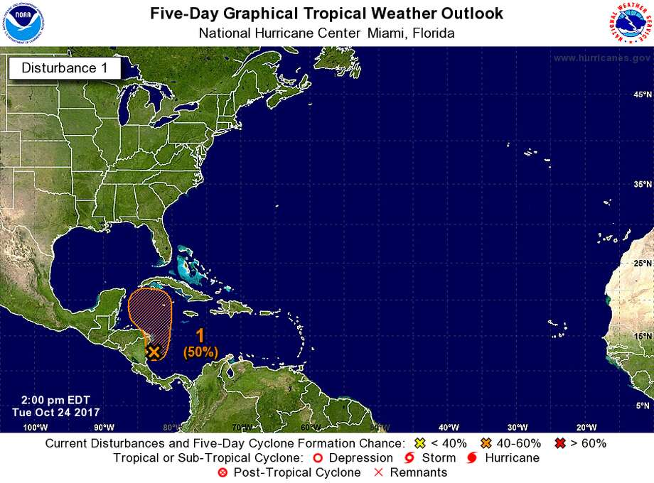 The National Weather Service predicts that a disturbance in the Caribbean Sea has 50 percent chance of developing into a tropical storm within the next five days.See50 of the most iconic photos from Hurricane Harvey. Photo: National Weather Service