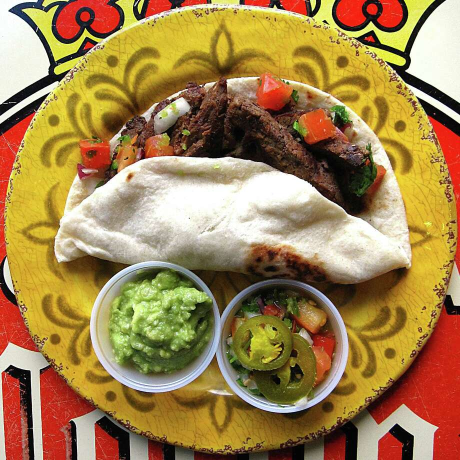 Beef fajita taco on a handmade flour tortilla from Mama Margie's Mexican Cafe. Photo: Mike Sutter /San Antonio Express-News