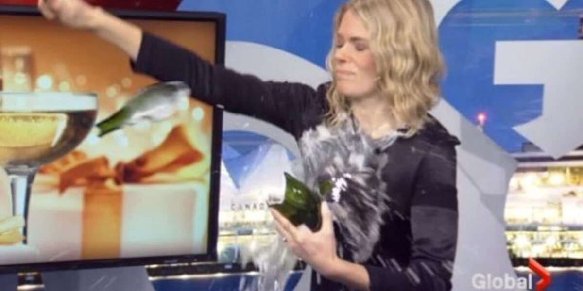 3) The Champagne Shower It looks like the Four Season's Wine Director, Emily Walker, was a little too excited for her glass of bubbly. Instead ofa glass, she opted for a full-on champagne shower. Check out the full video to see Global BC Morning News hostSteve Darling, who wasn't so savvy either.
