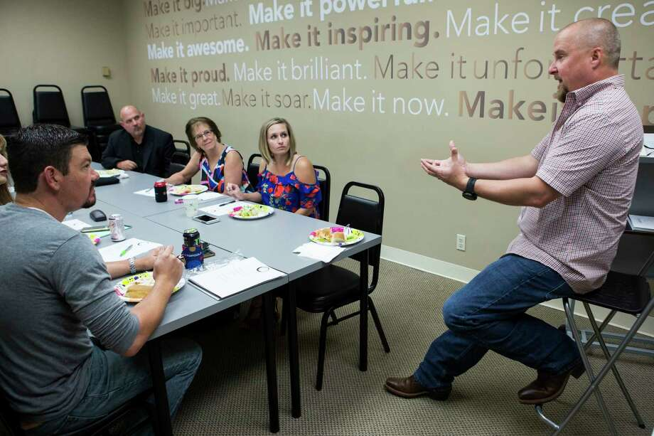 """Chance Brown meets with his """"agent leadership council."""" Photo: Brett Coomer, Staff / © 2017 Houston Chronicle"""