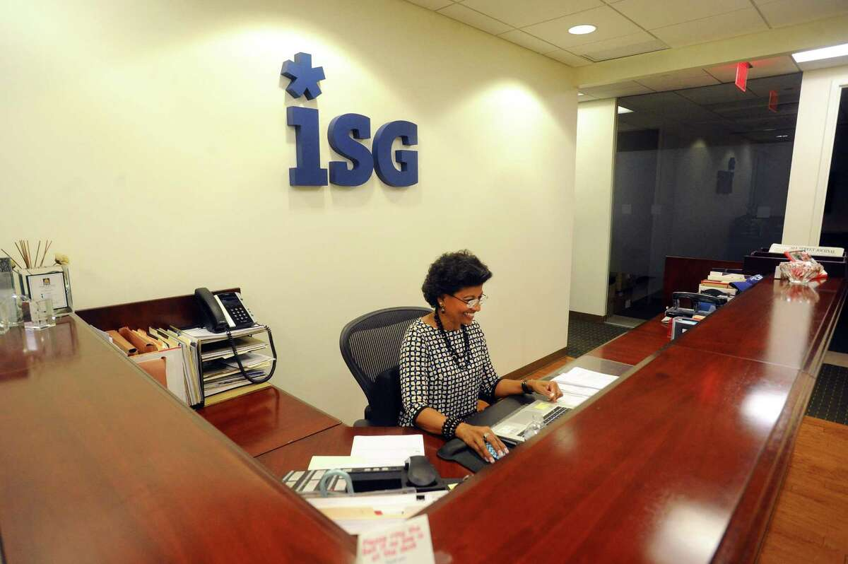 An employee of the technology research and advisory firm ISG works in the firm's Tresser Boulevard offices in downtown Stamford, Conn., on Tuesday, Oct. 24, 2017. ISG has announced it will relocate its Stamford headquarters from 281 Tresser Blvd., to 2187 Atlantic St., in the South End of Stamford.