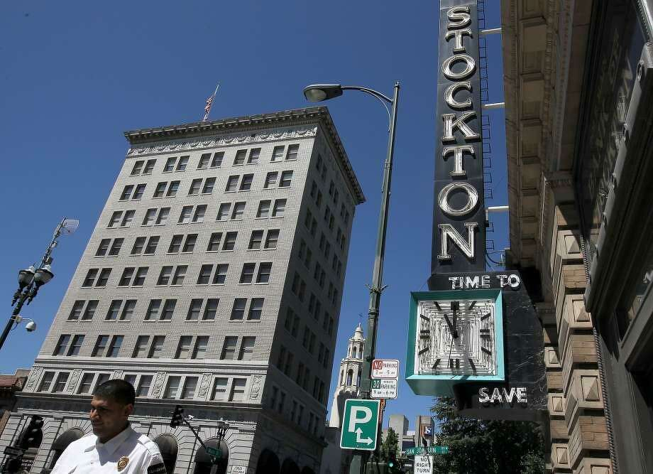 A decision to rename Stockton Metropolitan Airport to San Francisco-Stockton Regional Airport was postponed on Tuesday, Oct. 24, 2017, after officials at San Francisco International Airport objected. (Shown: downtown Stockton, Calif.) Photo: Justin Sullivan / Justin Sullivan/Getty Images