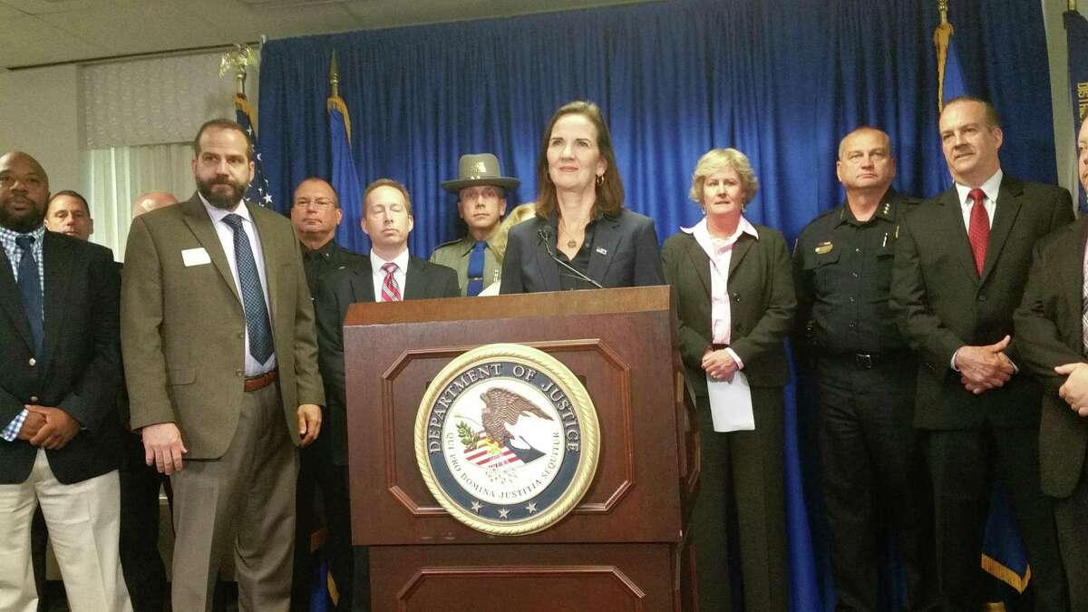 U.S. Attorney for the District of Connecticut Deidre Daly (at podium), along with epresentatives of federal, state and local law enforcement agencies announced Tuesday the formation of the Connecticut Cyber Task Force, which will investigate cyber crimes.