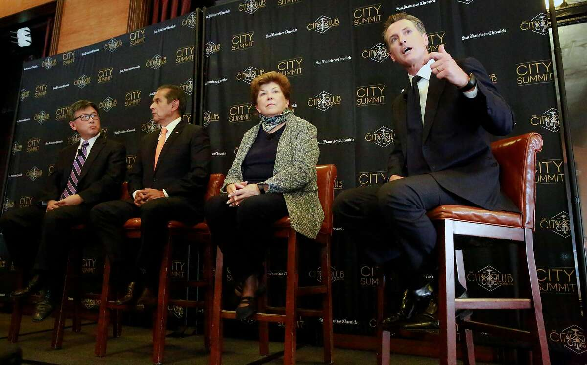 The San Francisco Chronicle and the City Club of San Francisco host a City Summit forum for California democratic gubernatorial candidates, (l to r) John Chiang, California State Treasurer, Antonio Villaraigosa, former Mayor of Los Angeles, Delaine Eastin, former California Superintendent of Public Instruction and making a point Gavin Newsom, Lieutenant Governor of California in San Francisco, Ca. on Tuesday October 24, 2017.