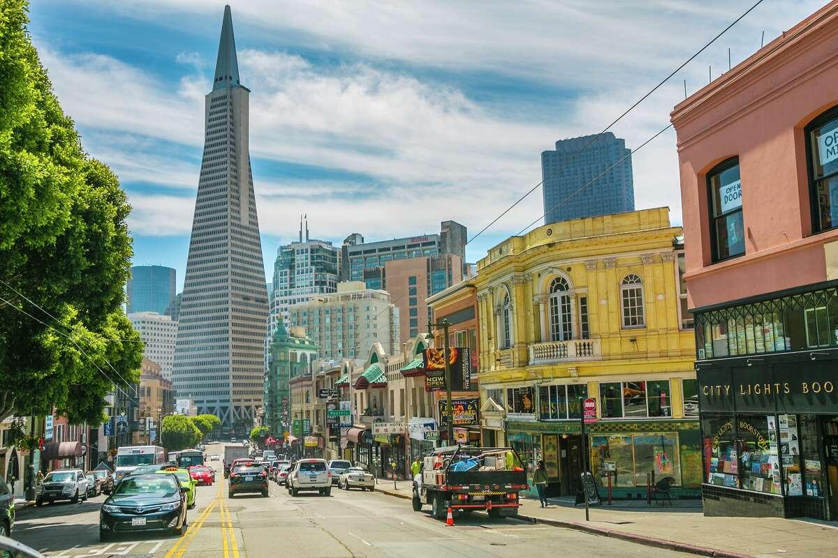 Transamerica Pyramid. Little Italy. North Beach neighborhood. San Francisco. California.