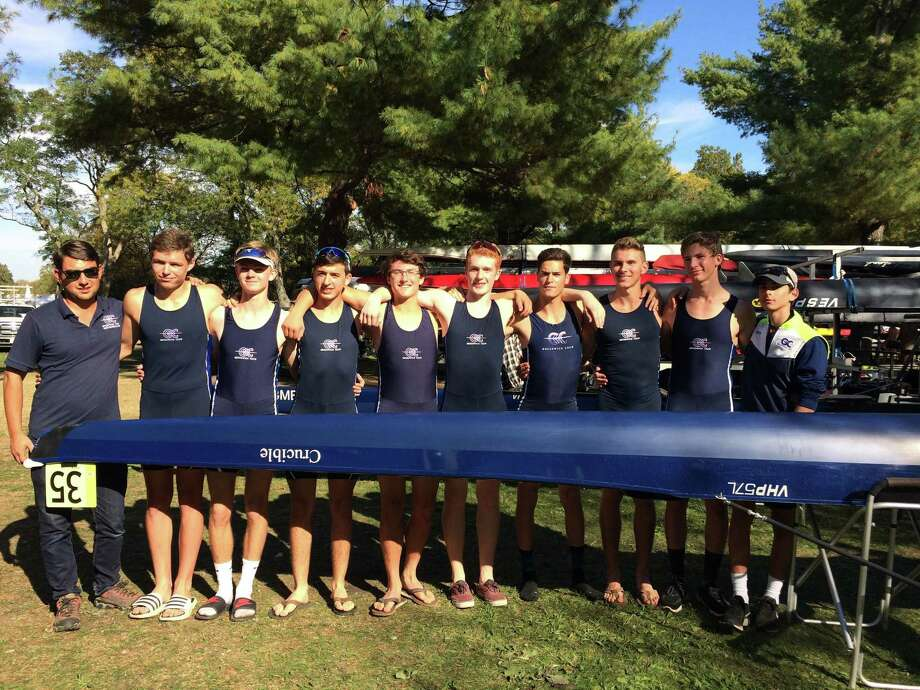 Greenwich Crew's men's junior eight boat placed seventh in its race out of 85 boats at the Head of the Charles Regatta in Cambridge, Mass., last weekend. Photo: Contributed Photo / Contributed Photo / Greenwich Time Contributed