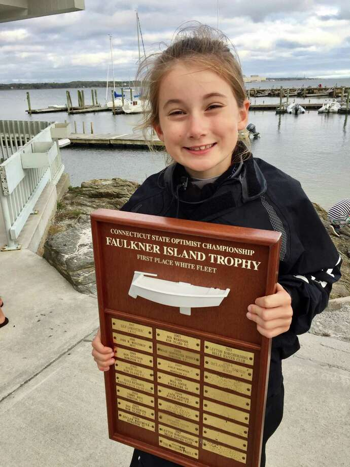 Greenwich Academy fourth-grader Helena Borcherding won the White Fleet Division at the Connecticut State Optimist Sailing Championships at Niantic Bay Yacht Club recently. Photo: Contributed Photo / Contributed Photo / Greenwich Time Contributed