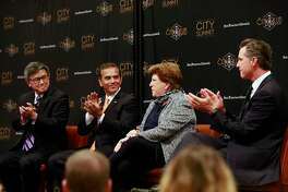 The candidates are introduced. The San Francisco Chronicle and the City Club of San Francisco  host a City Summit forum for California democratic gubernatorial candidates, ( l to r ) John Chiang, California State Treasurer, Antonio Villaraigosa, former Mayor of Los Angeles, Delaine Eastin, former California Superintendent of Public Instruction and Gavin Newsom, Lieutenant Governor of California in San Francisco, Ca. on Tuesday October 24, 2017.