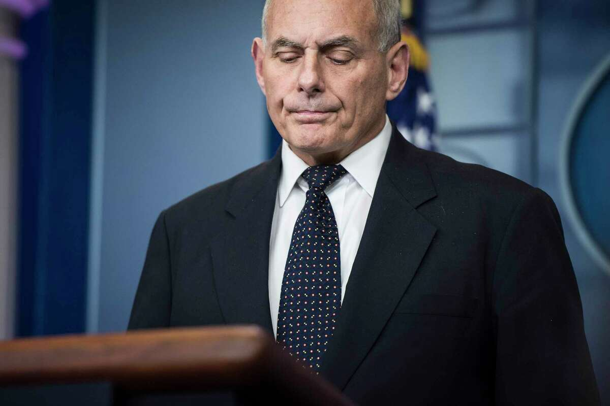 White House Chief of Staff John Kelly taks questions and talks about his son during the daily press briefing at the White House last week. (Jabin Botsford/Washington Post)