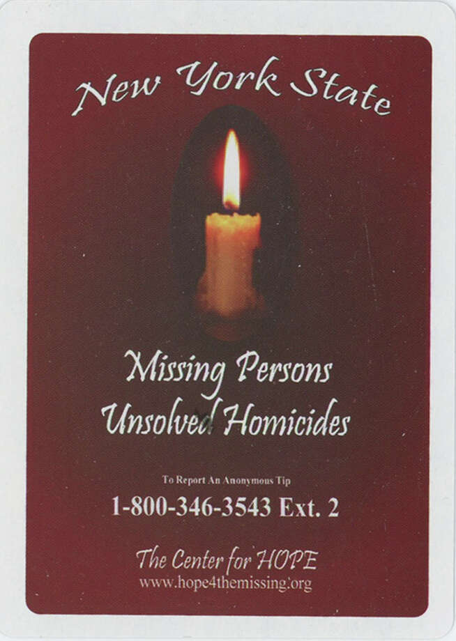 The New York State Missing Persons and Unsolved Homicides deck of playing cards is a project of the Ballston Spa-based Center for Hope. The cards are distributed in all of the state's 57 county jails, as well as in the offices of county district attorneys and probation officers. Photo: Center For Hope