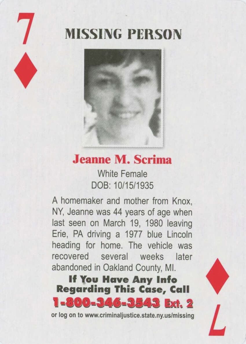 The New York State Missing Persons and Unsolved Homicides deck of playing cards is a project of the Ballston Lake-based Center for Hope. The cards are distributed in all of the state's 57 county jails, as well as in the offices of county district attorneys and probation officers.