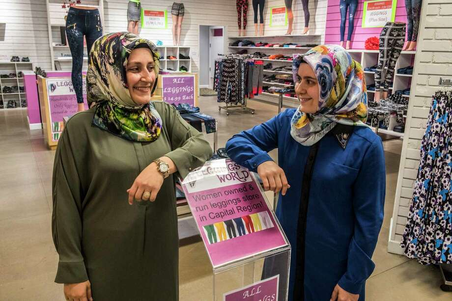 Arzu Demircan, left and Ozgul Ucan show off their new Leggings store at Crossgates Mall Monday Oct. 23, 2017 in Albany, N.Y.  (Skip Dickstein/Times Union) Photo: SKIP DICKSTEIN / 20041903A