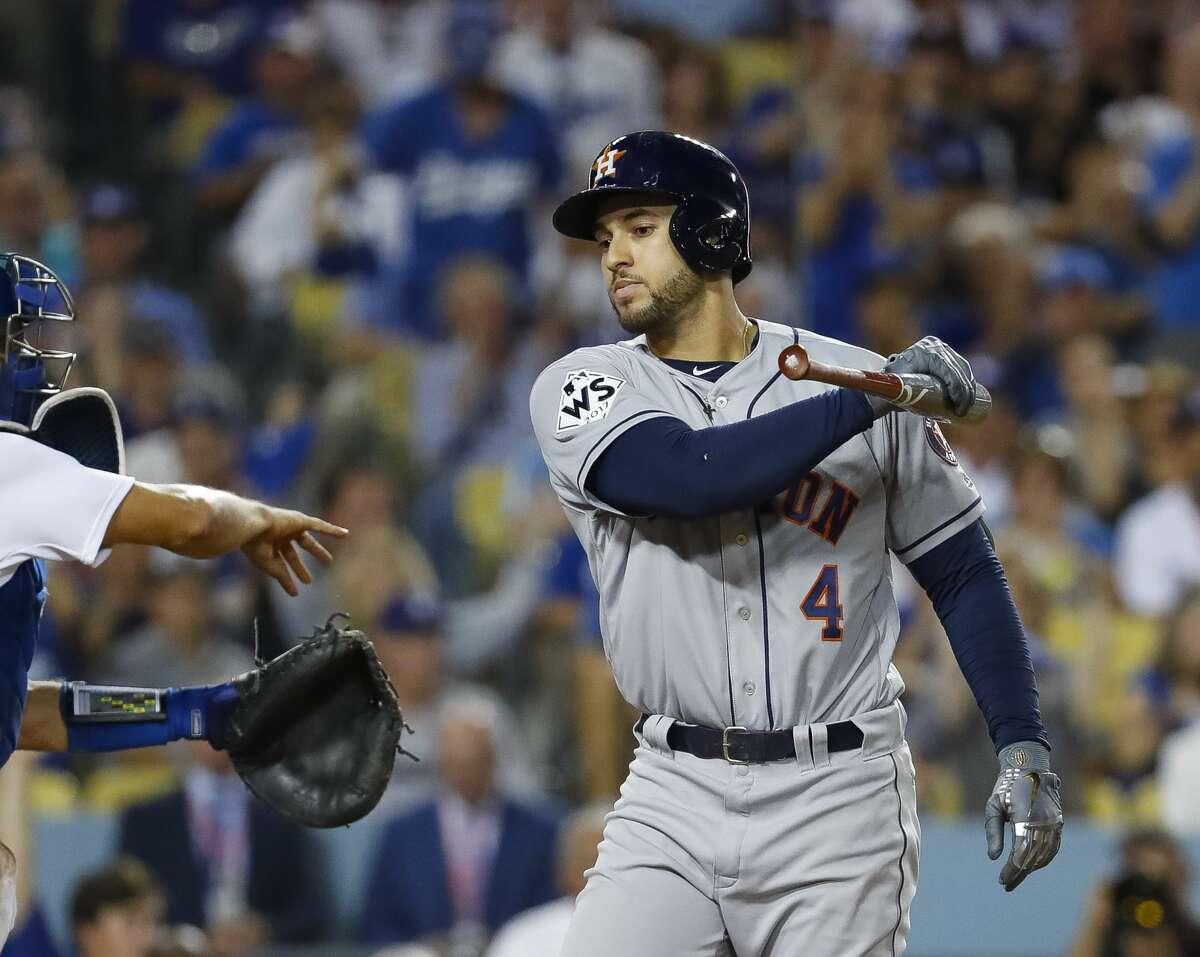 Houston Astros center fielder George Springer (4) inning of Game 1 of the World Series at Dodger Stadium on Tuesday, Oct. 24, 2017, in Los Angeles. ( Karen Warren / Houston Chronicle )