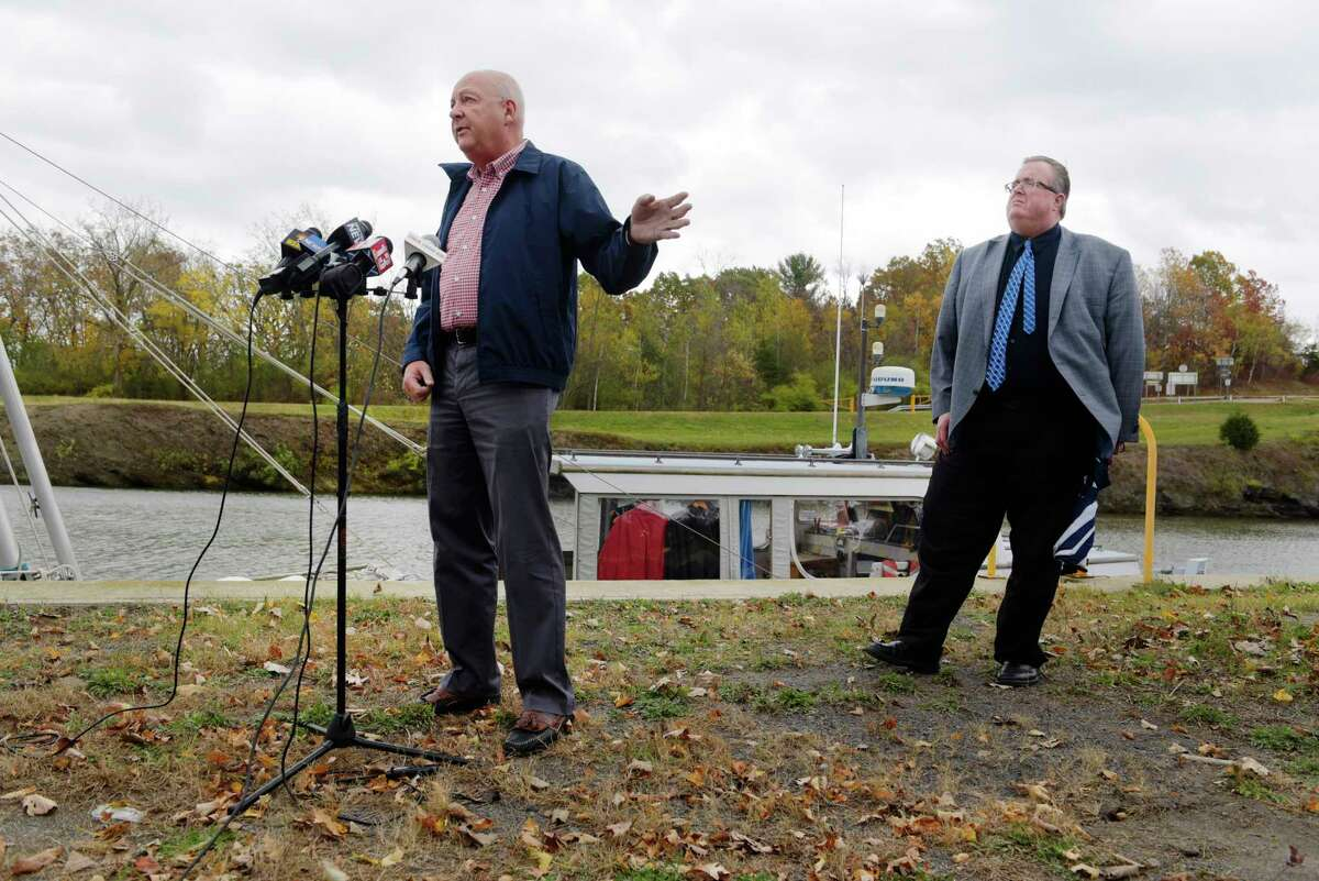 Town of Waterford Supervisor, John Lawler, left, and Town of Halfmoon Supervisor, Kevin Tollisen at a press conference near the Erie Canal on Tuesday, Oct. 24, 2017, in Waterford, N.Y. Lawler voted against the drop in Prosperity Partnership funding, but Tollisen voted for it. (Paul Buckowski / Times Union)