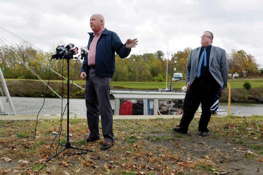 Town of Waterford Supervisor, John Lawler, left, and Town of Halfmoon Supervisor, Kevin Tollisen voice their concerns over a possible expansion of the Colonie Landfill during a press conference near the Erie Canal on Tuesday, Oct. 24, 2017, in Waterford, N.Y.  (Paul Buckowski / Times Union) Photo: PAUL BUCKOWSKI / 20041923A