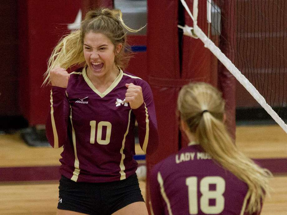 Magnolia West's Rylie Scales (10) celebrates a point during a match in the Cy-Fair/Katy Volleyball Classic, Thursday, Aug. 10, 2017, in Cypress. Photo: Jason Fochtman, Staff Photographer / © 2017 Houston Chronicle