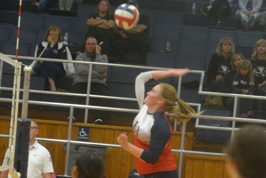 Plainview senior Emily Collins hits the ball during the final match of the season against Canyon at the Plainview High School Gym Tuesday night. Collins put down 19 kills and dug out eight shots in her final high school volleyball match. She was one of seven seniors honored before the contest. Photo: Skip Leon/Plainview Herald