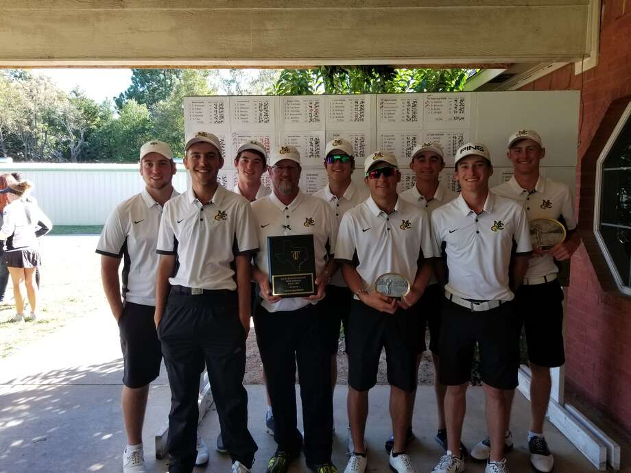 The Midland College golf team poses with its awards after winning the Tyler JC Fall Invitational.