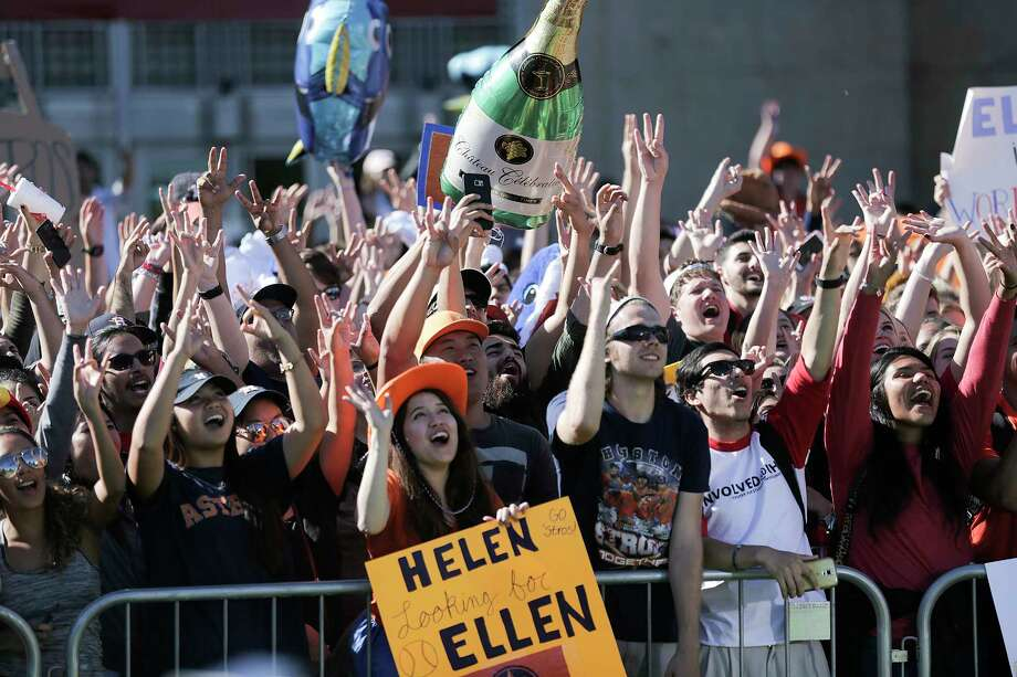 Ellen DeGeneres fans ham it up for the cameras during a World Series ticket giveaway at University of Houston on Tuesday. Click through to see photos from World Series Game 5. Photo: Elizabeth Conley, Houston Chronicle / © 2017 Houston Chronicle