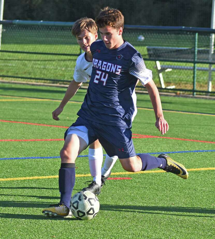 Aidan Murphy of the GFA Dragons boys varsity soccer team took on St. Luke's on Oct. 17. Photo: Contributed Photo
